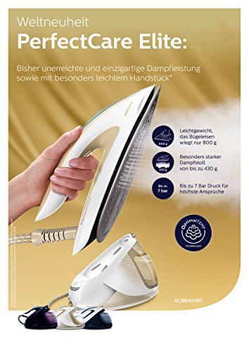 Philips PerfectCare Elite Silence GC9640/60 Dampfbügelstation (2400 Watt, Optimal TEMP, 7 bar Dampfdruck, 480 g Dampfstoß) -