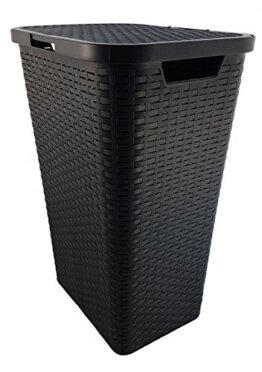 Wäschekorb Wäschebox Wäschetruhe Wäschekiste Wäschesammler Wäschetonne mit Deckel Kunststoff in Flechtoptik - Braun -