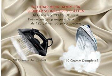 AEG Dampfbügeleisen 4Safety Plus (2300 Watt, 110 g Dampfstoß, Glissium 80 Bügelsohle, Abschaltautomatik, Anti-Kalk System) Blau/Weiß -