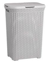 Curver Wäschebox 40L HELLGRAU Rattan Wäschekorb Wäschekörbe Wäschesammler -
