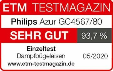 Philips GC4567/80 Dampfbügeleisen Azur (2600 W, 250g Dampfstoß, SteamGlide Advanced Bügelsohle, integrierte Kalkkassette) schwarz - 2